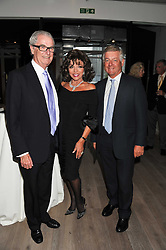 Left to right, LORD BELL, JOAN COLLINS and SIR NICK LLOYD at a party to celebrate the publication of her  autobiography - The World According to Joan, held at the British Film Institute, South Bank, London SE1 on 8th September 2011.
