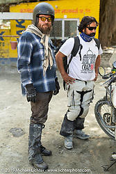 Trip co-leaders Bear Haughton and Buddhi Singh on Motorcycle Sherpa's Ride to the Heavens motorcycle adventure in the Himalayas of Nepal. On the third day of riding, we went from Pokhara to Kalopani. Wednesday, November 6, 2019. Photography ©2019 Michael Lichter.