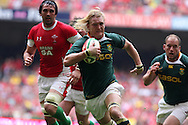 Dewald Potgieter  of South Africa runs in to score his try. Wales v South Africa,    at Millennium Stadium in Cardiff on Sat 5th June 2010. pic by Andrew Orchard,  Andrew Orchard sports photography,