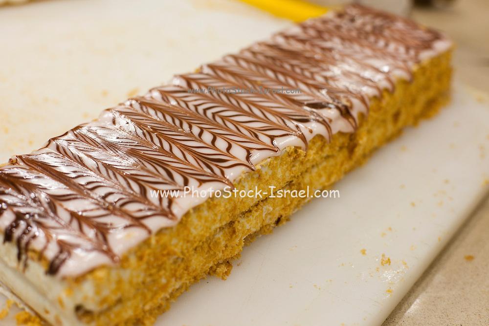 Lemon sponge cake with icing decorations
