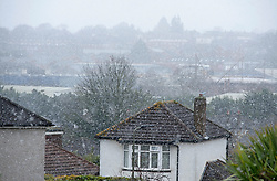 ©Licensed to London News Pictures 27/02/2020<br /> Orpington, UK. A snow blizzard above homes. Snowy weather this morning in Orpington, South East London. Photo credit: Grant Falvey/LNP