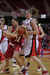 29 March 2009: Amanda Clifton backs Whitney Thomas into Nicolle Lewis trying to steal the ball. The Hoosiers of Indiana fall to the Redbirds of Illinois State 66-55 during a Women's National Invitational quarterfinal game on Doug Collins Court inside Redbird Arena in Normal Illinois.
