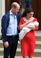 The Duke and Duchess of Cambridge with their newborn son outside the Lindo Wing at St Mary's Hospital in Paddington, London. Photo credit should read: Doug Peters/EMPICS Entertainment