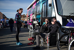 """""""Which way's the bathroom?""""... """"That way!"""" Lisa Brennauer at Women's Gent Wevelgem 2017. A 145 km road race on March 26th 2017, from Boezinge to Wevelgem, Belgium. (Photo by Sean Robinson/Velofocus)"""