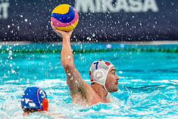 Ante Vukicevic of Croatia in action against Netherlands during the Olympic qualifying tournament. The Dutch water polo players are on the hunt for a starting ticket for the Olympic Games on February 15, 2021 in Rotterdam