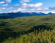 Boreal forest near Elsa, drainage of the McQuesten River beyond, Silver Trail, Yukon Territory, Canada.