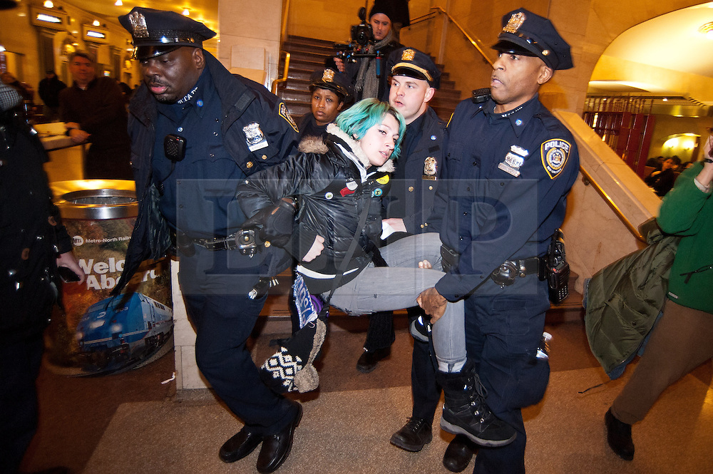 © licensed to London News Pictures. New York City, New York, USA. 3/01/12. Arrests take place during protests in Grand Central Station take place in Manhatten against the recently passed National Defence Authorisation Act (NDAA), which protesters are concerned introduced indefinite detention powers to be used against those suspected of terrorism. Photo credit: Jules Mattsson/LNP