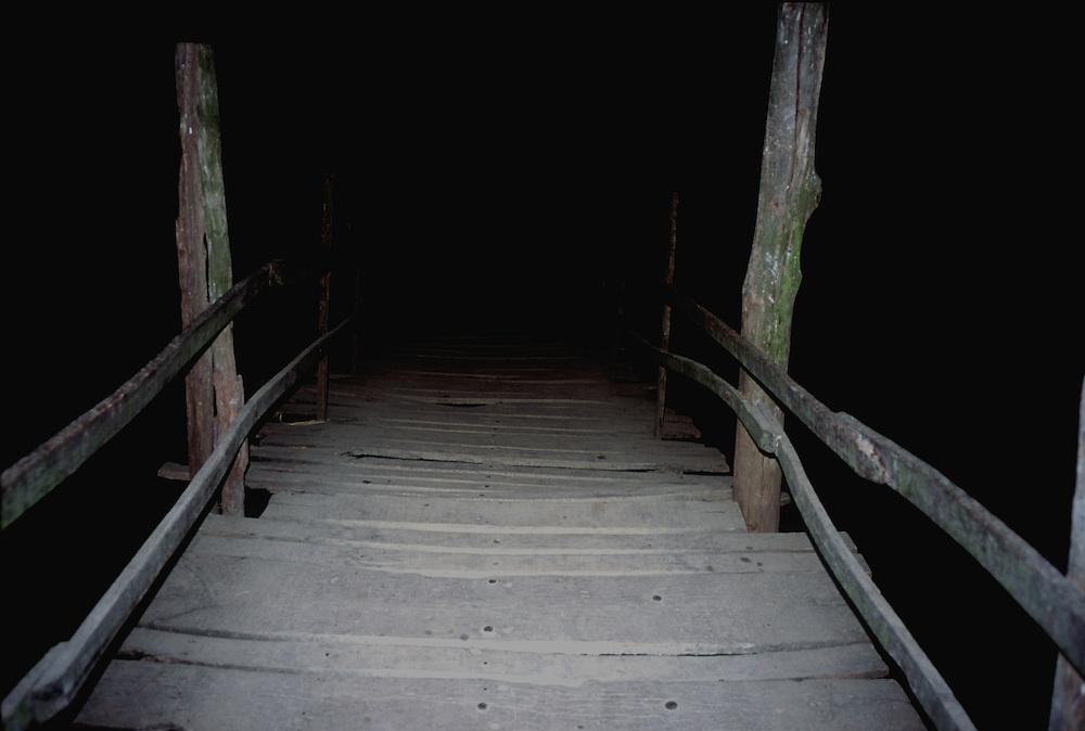 Rickety Old Wooden Bridge at night