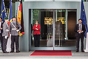 German Chancellor Angela Merkel meets the Prime Minister of Moldova Maia Sandu at the federal chancellery in Berlin, Germany, July 16, 2019. PM Sndu was welcomed by her German counterpart with military honors, followed with bilateral talks and a closing press conference.