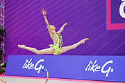 Fainberg Sol of Argentina competes during the Rhythmic Gymnastics Individual World Cup qualification at the Vitrifrigo Arena on May 28-29, 2021, in Pesaro, Italy. She was born in 2002 in Oviedo.