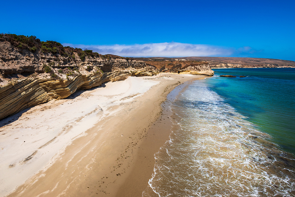 The beach at Bechers Bay, Santa Rosa Island, Channel Islands National Park, California USA