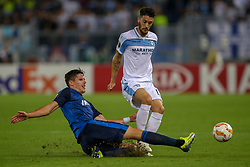 September 20, 2018 - Rome, Lazio, Italy - 20th September 2018, Stadio Olimpico, Rome, Italy; UEFA Europa League football, Lazio versus Apollon Limassol; Joao Pedro of Apollon Limassol challenges Luis Alberto of Lazio  Credit: Giampiero Sposito/Pacific Press (Credit Image: © Giampiero Sposito/Pacific Press via ZUMA Wire)