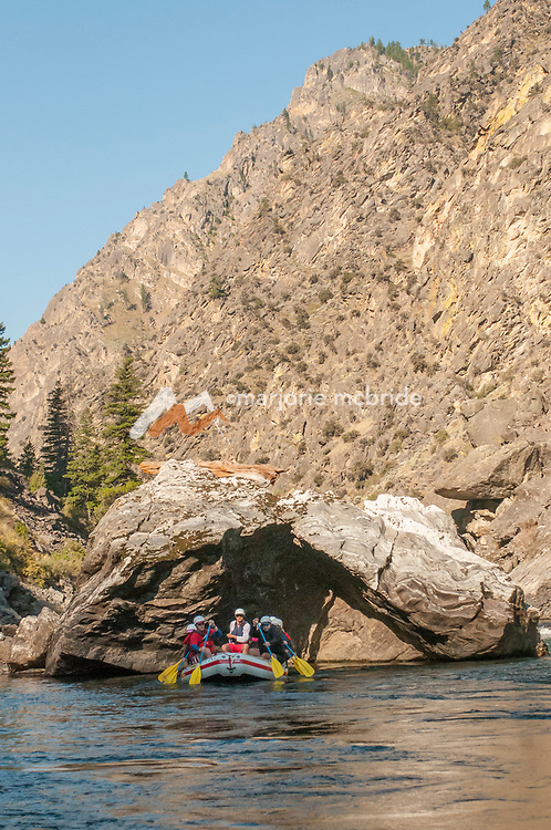 Enjoying clam shell rock during morning in The Impassible Canyon on the Middle Fork of the Salmon River during six day rafting vacation, Idaho.