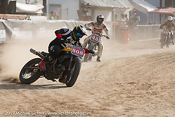 Hooligan flattracker (no. 808) Frankie Garcia on his Ducati racer in the Hooligan races on the temporary track in front of the Sturgis Buffalo Chip main stage during the Sturgis Black Hills Motorcycle Rally. SD, USA. Wednesday, August 7, 2019. Photography ©2019 Michael Lichter.