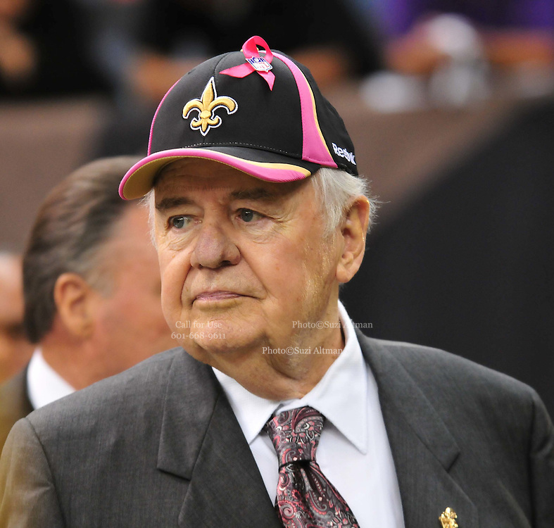 """New Orleans Saints owner Tom Bensonis seen wearing a Pink trimmed Saints cap for Breast Cancer Awareness Oct. 3,2010 prior to the Saints game against the Carolina Panthers. The NFL has gone """"Pink"""" for October in honor of Breast Cancer Awareness. The Saints went on to win 16-14. John Carney kicked three field goals to help the Saints win. PHOTO©SuziAltman.com"""