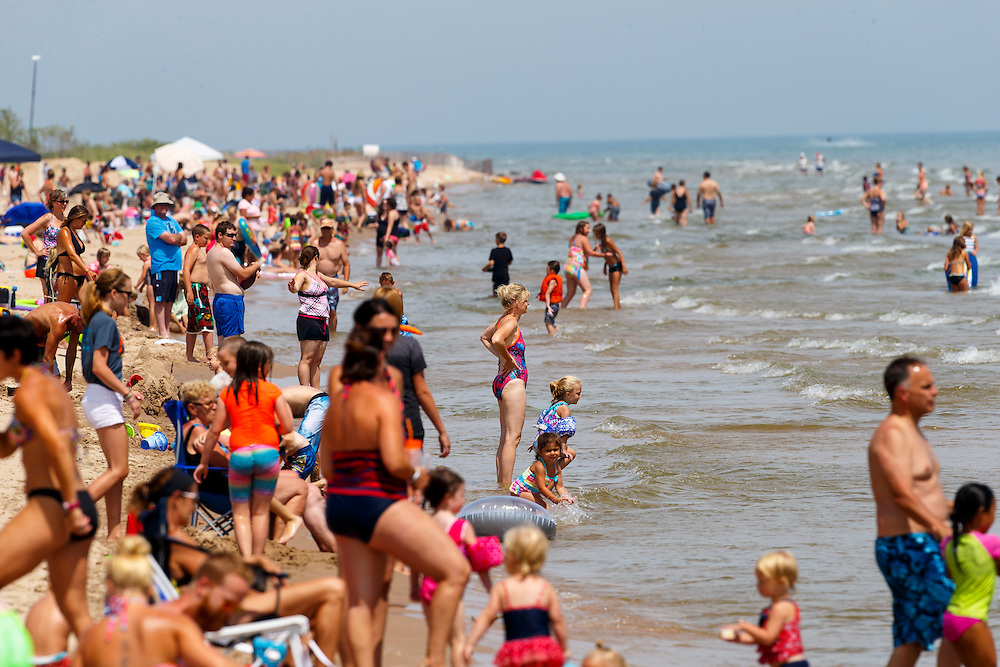 Neshota Park beach in Two Rivers, Wisconsin.  Photo by Mike Roemer