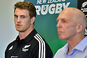 All Blacks Sevens captain Scott Curry (L) speaks to the media with head coach Sir Gordon Tietjens during the All Blacks Sevens squad announcement at the Westpac Stadium in Wellington on Wednesday the 19th of August 2015. Copyright photo by Marty Melville / www.Photosport.nz