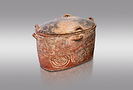 The Minoan clay burial larnax chest with swirl design,  Neopalatial period 1700-1450 BC; Heraklion Archaeological  Museum, grey background. .<br /> <br /> If you prefer to buy from our ALAMY PHOTO LIBRARY  Collection visit : https://www.alamy.com/portfolio/paul-williams-funkystock/minoan-art-artefacts.html . Type -   Heraklion   - into the LOWER SEARCH WITHIN GALLERY box. Refine search by adding background colour, place, museum etc<br /> <br /> Visit our MINOAN ART PHOTO COLLECTIONS for more photos to download  as wall art prints https://funkystock.photoshelter.com/gallery-collection/Ancient-Minoans-Art-Artefacts-Antiquities-Historic-Places-Pictures-Images-of/C0000ricT2SU_M9w