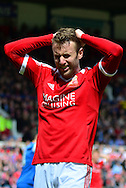 Goalscorer Andy Williams misses a chance during the Sky Bet League 1 match between Swindon Town and Leyton Orient at the County Ground, Swindon, England on 3 May 2015. Photo by Alan Franklin.