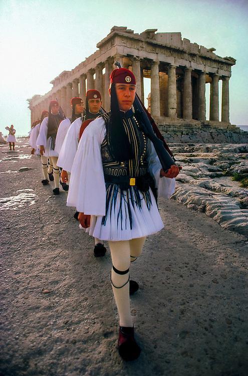 Evzones march past the Parthenon, Acropolis, Athens, Greece