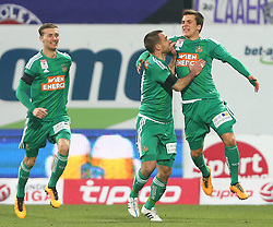 14.02.2016, Generali Arena, Wien, AUT, 1. FBL, FK Austria Wien vs SK Rapid Wien, 22. Runde, im Bild Torjubel Mario Pavelic (SK Rapid Wien), Steffen Hofmann (SK Rapid Wien) und Thomas Murg (SK Rapid Wien) // during Austrian Football Bundesliga Match, 22nd Round, between FK Austria Vienna and SK Rapid Vienna at the Generali Arena, Vienna, Austria on 2016/02/14. EXPA Pictures © 2016, PhotoCredit: EXPA/ Thomas Haumer