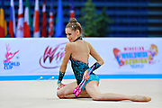 Gamalejeva Jelizaveta during qualifying at clubs in Pesaro World Cup 11 April 2015. Jelizaveta is a Latvian rhythmic gymnastics athlete born on March 22, 1994 in Riga.