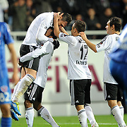 Besiktas's Hugo Almedia (L) celebrate his goal with team mate during their Turkish superleague soccer match Besiktas between Kardemir Karabukspor at BJK Inonu Stadium in Istanbul Turkey on Thursday, 22 December 2011. Photo by TURKPIX