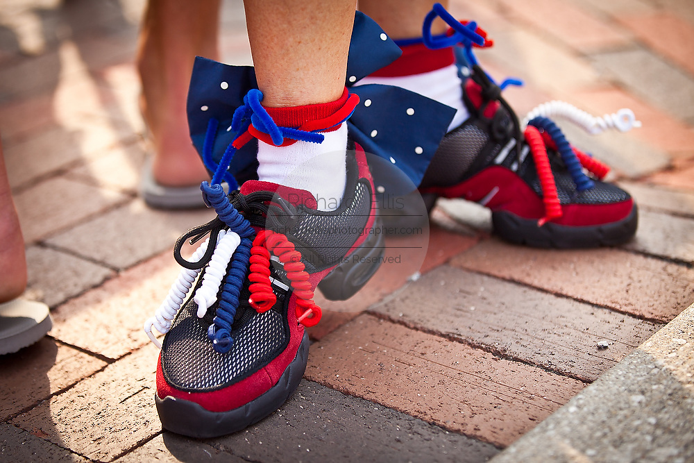 A decorated patriotic shoes in the I'On Community 4th of July parade.