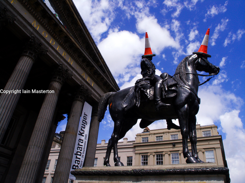 Statue of Duke of Wellington with traffic cones outside Museum of Modern Art Glasgow 2005