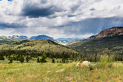 Absaroka Mountain Storm from a high meadow overlooking the Wiggens Fork Drainage.