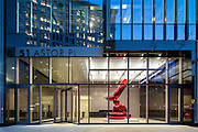 51 Astor Place, NYC. Commercial office building. Jeff Koons balloon animal sculpture in lobby.