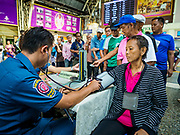 11 APRIL 2018 - BANGKOK, THAILAND: People participate in a wellness check sponsored by the Poh Teck Tung Foundation at Hua Lamphong train station in Bangkok on the first day of the Songkran travel period. Songkran is the traditional Thai New Year and is one of the busiest travel periods of the year as Thais leave the capital and go back to their home provinces or resorts in tourist areas. Trains and busses are typically jammed the day before the three day Songkran holiday starts. The government has extended the official holiday period through Monday, 16 April because one day of the Songkran holiday fell on the weekend, giving many workers a five day holiday.    PHOTO BY JACK KURTZ