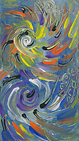 abstract multicolored spirals and round shapes painting in shades of blue, orange, yellow, purple, black and white colors.