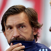 HARRISON, NEW JERSEY- AUGUST 25: Andrea Pirlo #21 of New York City FC on the subs bench during the New York Red Bulls Vs New York City FC MLS regular season match at Red Bull Arena, Harrison, New Jersey on August 25, 2017 in Harrison, New Jersey. (Photo by Tim Clayton/Corbis via Getty Images)