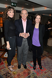 Left to right, MARIE HELVIN, SIMON JENKINS and HANNAH KAYE at a reception to celebrate the publication of The Shadow of The Crescent Moon by Fatima Bhutto at the Belgraves Hotel, 20 Chesham Place, London, on 2nd December 2013.