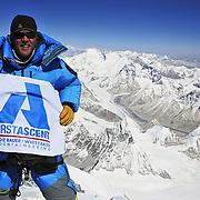 Photographer Jake Norton on the summit of Everest for his third time.