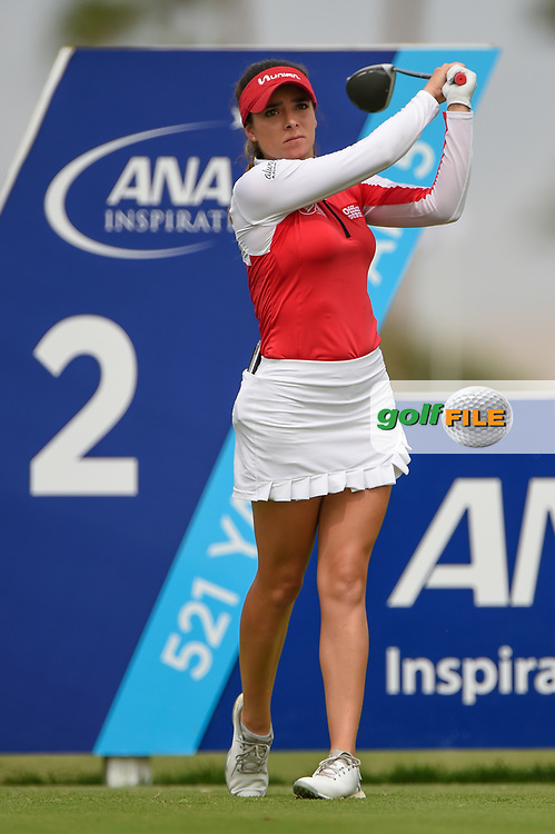 Gaby Lopez (MEX) watches her tee shot on 2 during round 3 of the 2020 ANA Inspiration, Mission Hills C.C., Rancho Mirage, California, USA. 9/12/2020.<br /> Picture: Golffile | Ken Murray<br /> <br /> All photo usage must carry mandatory copyright credit (© Golffile | Ken Murray)