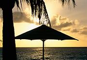 Sunset with beach umbrella, Saint-Martin, France