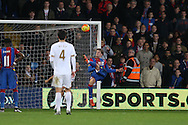 Patrick Bamford of Crystal Palace misses with a chance to score in extra time. Barclays Premier League match, Crystal Palace v Swansea city at Selhurst Park in London on Monday 28th December 2015.<br /> pic by John Patrick Fletcher, Andrew Orchard sports photography.