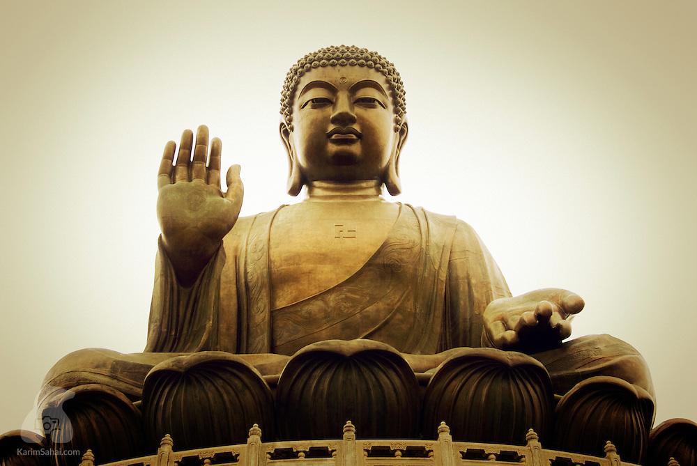 Giant Buddha statue at the Po-Lin monastery, Lantau island, Hong Kong.