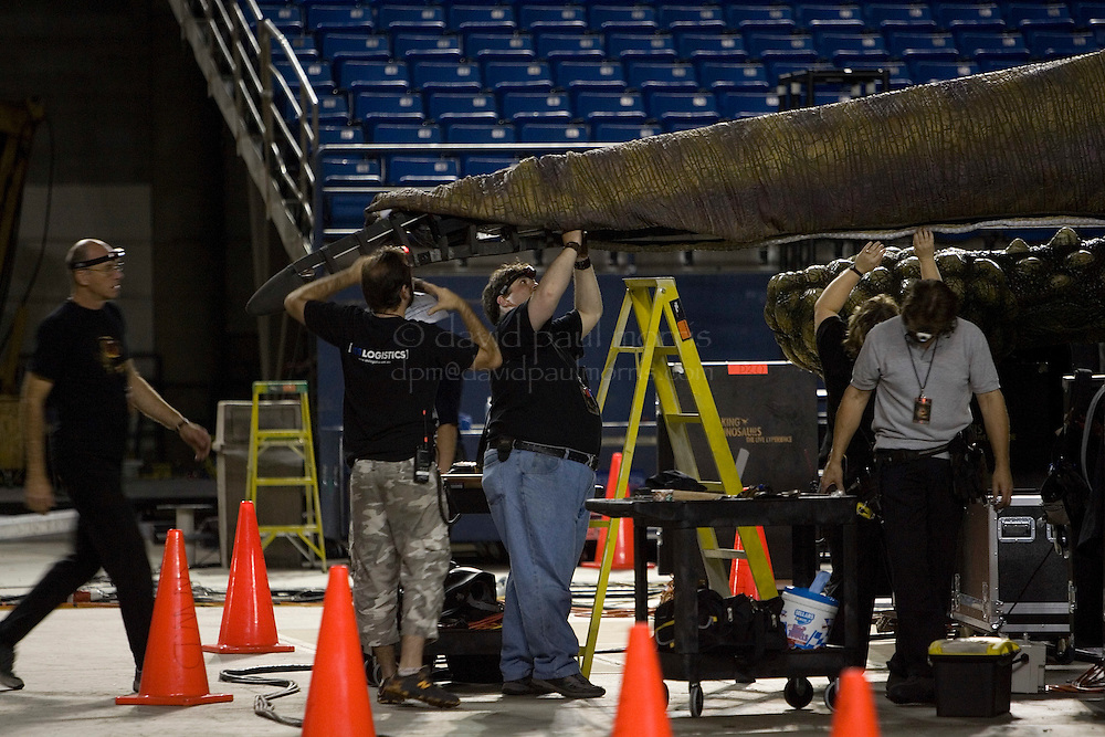 """TACOMA, WA - JULY 13:  Workers put the finishing touches on the tail of a dinosaur during a rehearsal check of """"Walking WIth Dinosaurs"""" on July 13, 2007 at the Tacoma Dome in Tacoma, Washington.  (Photo by David Paul Morris)"""