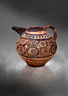 Minoan bridge spouted jug with spiral decorations, Akrotiri, Thira (Santorini) National Archaeological Museum Athens. 17th-16th cent BC. .<br /> <br /> If you prefer to buy from our ALAMY PHOTO LIBRARY  Collection visit : https://www.alamy.com/portfolio/paul-williams-funkystock/minoan-art-artefacts.html . Type -   Athens    - into the LOWER SEARCH WITHIN GALLERY box. Refine search by adding background colour, place, museum etc<br /> <br /> Visit our MINOAN ART PHOTO COLLECTIONS for more photos to download  as wall art prints https://funkystock.photoshelter.com/gallery-collection/Ancient-Minoans-Art-Artefacts-Antiquities-Historic-Places-Pictures-Images-of/C0000ricT2SU_M9w