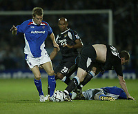 Photo: Aidan Ellis.<br /> Chesterfield United v Manchester City. Carling Cup. 20/09/2006.<br /> Chesterfield's Kevan Hurst comes away with the ball from a pile of players