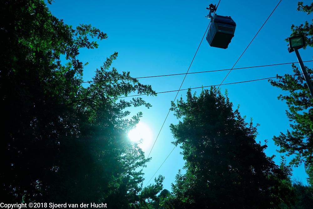 A gondola train to the top of the Cerro San Cristóbal, (Tupahue, San Cristóbal Hill) in Santiago de Chile