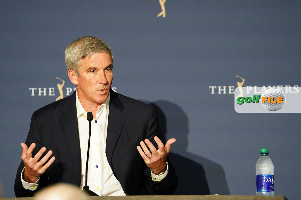 PGA Tour Commissioner Jay Monahan speaking to the media at the Players Championship, TPC Sawgrass, Ponte Vedra Beach, Florida, USA. 12/03/2020<br /> Picture: Golffile | Fran Caffrey<br /> <br /> <br /> All photo usage must carry mandatory copyright credit (© Golffile | Fran Caffrey)