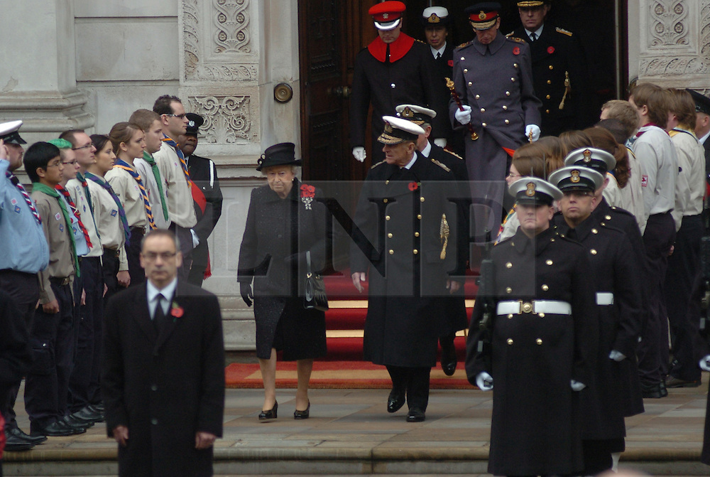 (c) London News Pictures. 14/11/2010.  HRH The Queen and Prince Philip  walking out to the Cenotaph today (Sun). The Queen today (Sun) led the Remembrance Sunday service at the Cenotaph in London in honour of those who have died in wars and conflicts. Picture credit should read: Will Oliver/London News Pictures