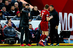 Liverpool manager Jurgen Klopp speaks to James Milner of Liverpool - Mandatory by-line: Robbie Stephenson/JMP - 07/05/2019 - FOOTBALL - Anfield - Liverpool, England - Liverpool v Barcelona - UEFA Champions League Semi-Final 2nd Leg