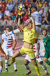 May 28, 2018 - Chester, PA, U.S. - CHESTER, PA - MAY 28: United States midfielder Weston McKennie (6) battles with Bolivia goalkeeper Carlos Lampe (1) for a loose ball during the international friendly match between the United States and Bolivia at the Talen Energy Stadium on May 28, 2018 in Chester, Pennsylvania. (Photo by Robin Alam/Icon Sportswire) (Credit Image: © Robin Alam/Icon SMI via ZUMA Press)