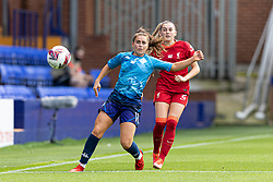 BIRKENHEAD, ENGLAND - Sunday, August 29, 2021: Liverpool's Charlotte Wardlaw (R) and London City Lionesses' Jamie-Lee Napier during the FA Women's Championship game between Liverpool FC Women and London City Lionesses FC at Prenton Park. London City won 1-0. (Pic by Paul Currie/Propaganda)