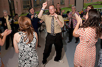 Ben Morris gets the party started at the Senior Senior dance at Gilford High School Friday evening.  The event included dinner followed by dancing hosted by the Interact Club, Student Council and Gilford Parks and Recreation.  (Karen Bobotas/for the Laconia Daily Sun)
